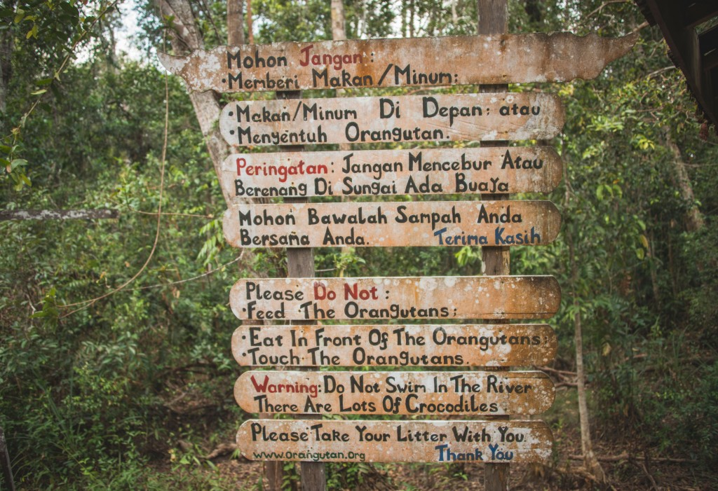 Rules Sign at Camp Leaky, Kalimantan, Indonesia Borneo